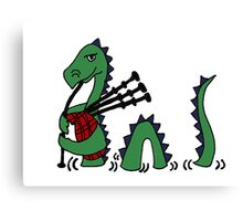 Funny Loch Ness Monster Playing Bagpipes Canvas Print