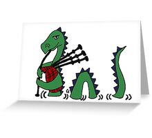 Funny Loch Ness Monster Playing Bagpipes Greeting Card