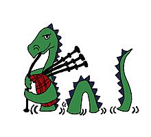Funny Loch Ness Monster Playing Bagpipes Photographic Print