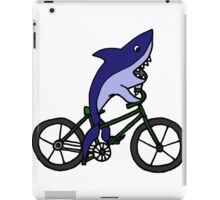 Funny Blue Shark Riding Bicycle iPad Case/Skin