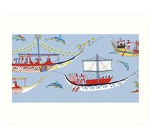 Minoan Miniature Frieze Admirals Flotilla Shipping Fresco Art Art Print