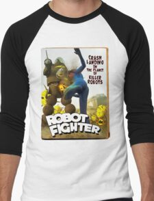 Robot Fighter Fake Pulp Cover 2 Men's Baseball ¾ T-Shirt