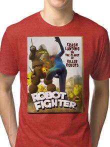 Robot Fighter Fake Pulp Cover 2 Tri-blend T-Shirt