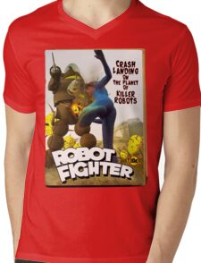 Robot Fighter Fake Pulp Cover 2 Mens V-Neck T-Shirt