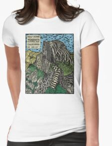 Half Dome Water Color Womens Fitted T-Shirt