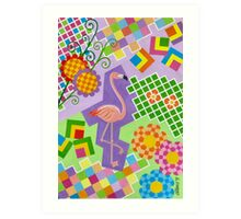 FLAMINGO IN COLORS AND SHAPES WITH SQUARS Art Print