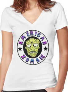 American Zombie Circle Face  Women's Fitted V-Neck T-Shirt