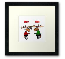 Funny Mary Chris Moose Christmas Art Framed Print