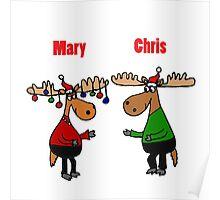 Funny Mary Chris Moose Christmas Art Poster