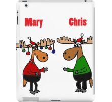 Funny Mary Chris Moose Christmas Art iPad Case/Skin