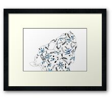Blue flowers in my bed Framed Print