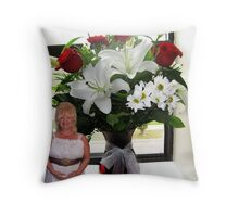 A SURPRISE BIRTHDAY DELIVERY ..BEAUTIFUL FLOWERS..FROM MY TRUCKER FRIEND JOHN Throw Pillow