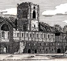 043 - FOUNTAINS ABBEY, YORKSHIRE - DAVE EDWARDS - INK - 1981 by BLYTHART