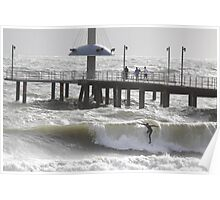 Surfing Brighton, Adelaide, Australia. Poster