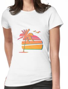 80's Sunset Womens Fitted T-Shirt