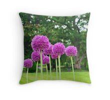 Purple Poms Throw Pillow