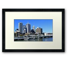 Brisbane In Blue Framed Print
