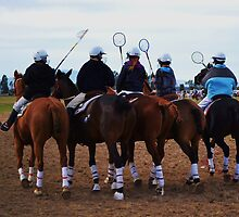 Polocrosse, Girls On Their Horses. by Liza Barlow