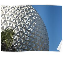 Epcot's Spaceship Earth & Palm Tree Poster