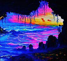 Misty cave Sunset by jyruff