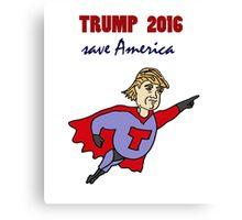 Funny Donald Trump Super Hero Canvas Print