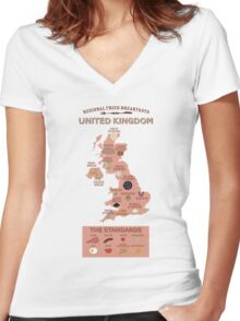 Regional Fried Breakfasts of the United Kingdom Women's Fitted V-Neck T-Shirt