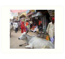 street scene, Jaisalmer, India Art Print