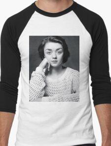 Maisie Williams Black & White Men's Baseball ¾ T-Shirt