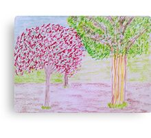 Red and Green Tree Canvas Print