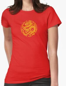 Traditional Yellow and Red Chinese Dragon Circle Womens Fitted T-Shirt