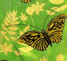 Green and Gold Butterflies by Brita Lee