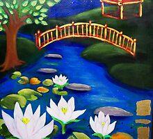 White Waterlilies by Moonlight by Brita Lee