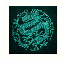Traditional Teal Blue Chinese Dragon Circle Art Print