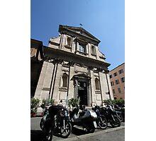 Church and Bikes Photographic Print