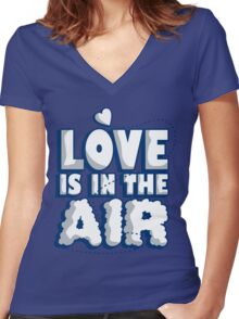 Love is in the air Women's Fitted V-Neck T-Shirt
