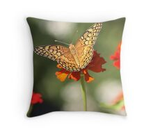 Perfection! (butterfly on Zinnia) Throw Pillow