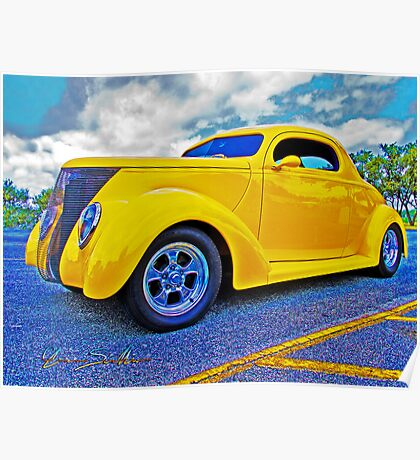 Yellow Ford Coupe Poster