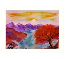 Sunset over the mountains, watercolor Art Print