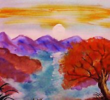 Sunset over the mountains, watercolor by Anna  Lewis