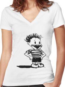 Black Calvin Women's Fitted V-Neck T-Shirt