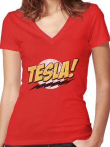 Tesla! (Distressed) Women's Fitted V-Neck T-Shirt