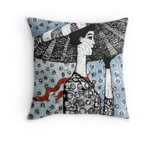 Blue dots and hat Throw Pillow