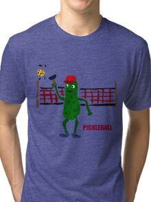 Funny Pickleball Pickle and Net Tri-blend T-Shirt