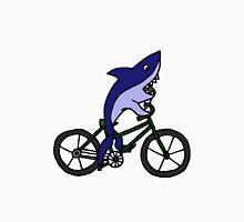 Funny Blue Shark Riding Bicycle Unisex T-Shirt
