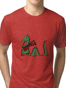 Funny Loch Ness Monster Playing Bagpipes Tri-blend T-Shirt