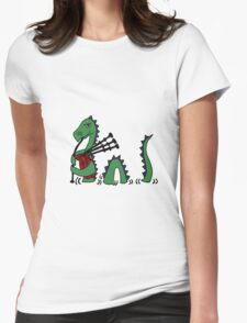 Funny Loch Ness Monster Playing Bagpipes Womens Fitted T-Shirt