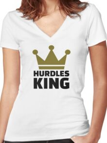 Hurdles King Women's Fitted V-Neck T-Shirt