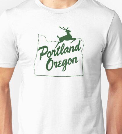 Portland Oregon Sign in Green Unisex T-Shirt