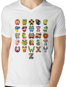 Super Alphabet Mens V-Neck T-Shirt