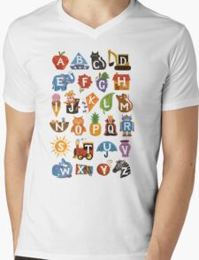 Alphabet  Mens V-Neck T-Shirt